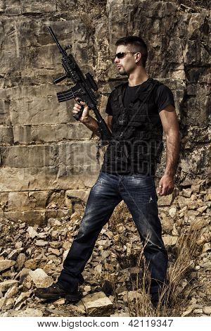 Menacing Man With A Machine Gun