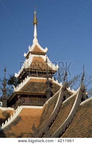 Ornate Wat Rooftop, Chiang Mai, Thailand