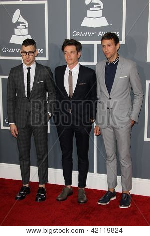 LOS ANGELES - FEB 10:  Jack Antonoff; Nate Ruess; Andrew Dost. arrive at the 55th Annual Grammy Awards at the Staples Center on February 10, 2013 in Los Angeles, CA