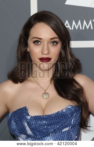 LOS ANGELES - FEB 10:  Kat Dennings arrives at the 55th Annual Grammy Awards at the Staples Center on February 10, 2013 in Los Angeles, CA