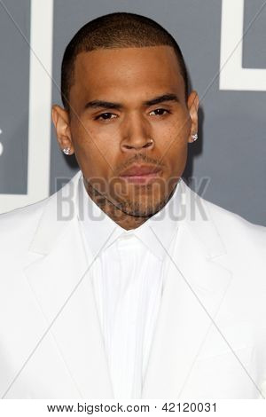 LOS ANGELES - FEB 10:  Chris Brown arrives at the 55th Annual Grammy Awards at the Staples Center on February 10, 2013 in Los Angeles, CA