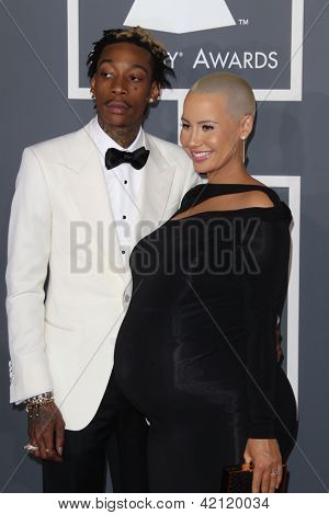 LOS ANGELES - FEB 10:  Wiz Khalifa, Amber Rose arrive at the 55th Annual Grammy Awards at the Staples Center on February 10, 2013 in Los Angeles, CA