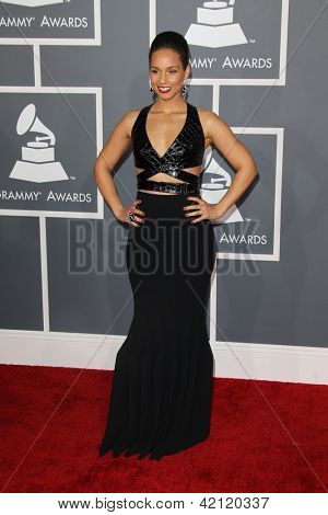 LOS ANGELES - FEB 10:  Alicia Keys arrives at the 55th Annual Grammy Awards at the Staples Center on February 10, 2013 in Los Angeles, CA