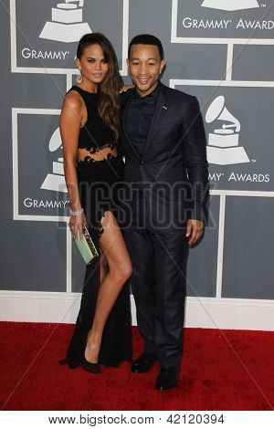 LOS ANGELES - FEB 10:  Chrissy Teigen, John Legend arrive at the 55th Annual Grammy Awards at the Staples Center on February 10, 2013 in Los Angeles, CA