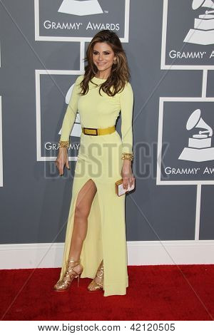 LOS ANGELES - FEB 10:  Maria Menounos arrives at the 55th Annual Grammy Awards at the Staples Center on February 10, 2013 in Los Angeles, CA