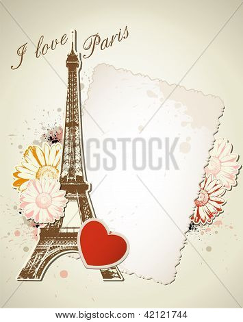 Old Frame And  Eiffel Tower