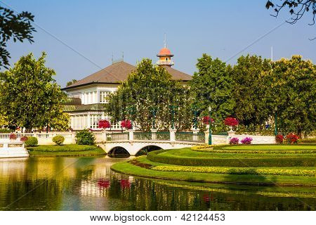 Beautiful Buildings And Park In The Sommerpalace Bang Pa In Of The King Of Thailand Near Ajuttaya