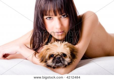 Cute Girl And Dog