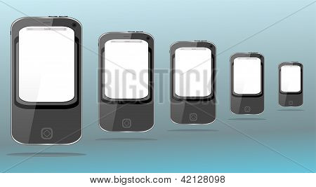 Group Of Black Smartphones On Abstract Background