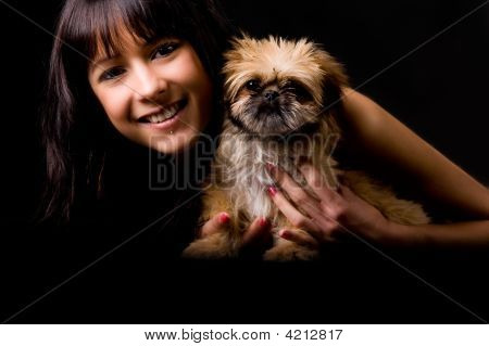 Smiling Glamourgirl With Puppy
