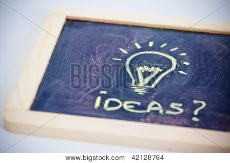 Brainstorming, Funny Lightbulb On Blackboard