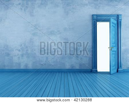 leere blaue Zimmer (Vintage)