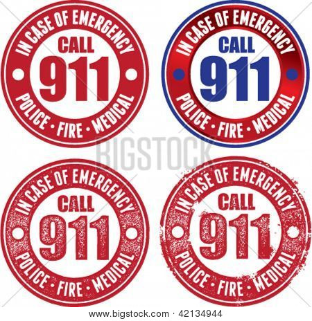 Emergency Call 911 Stamps for Fire, Police, and Medical