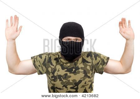 The Surrendered Criminal In A Black Mask Over White