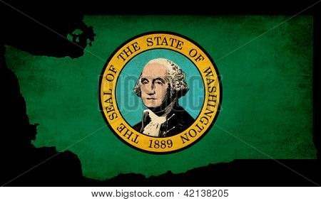 Usa American Washington State Map Outline With Grunge Effect Flag
