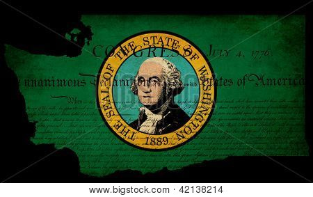 Usa American Washington State Map Outline With Grunge Effect Flag Insert And Declaration Of Independ
