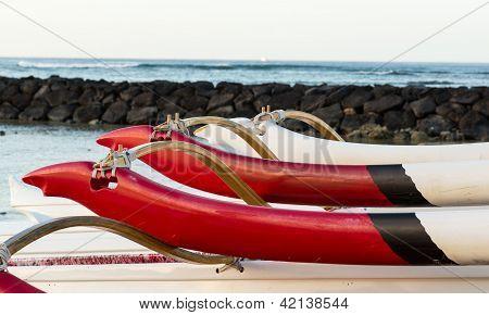 Sunrise Over Hawaiian Canoes From Waikiki Hawaii