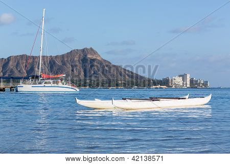 Boat Docked By Diamond Head Waikiki Hawaii