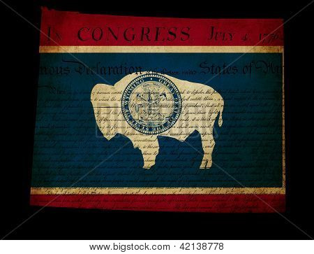Usa American Wyoming State Map Outline With Grunge Effect Flag Insert And Declaration Of Independenc