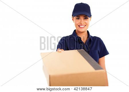 courier service woman delivering a parcel