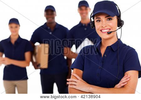 professional courier service dispatcher and staff