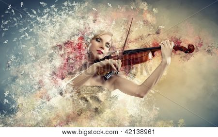 Image of beautiful female violinist playing with closed eyes against colorful background