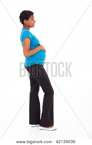 pregnant african american woman isolated on white