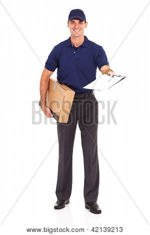 delivery man carrying a parcel and presenting receiving form for signing
