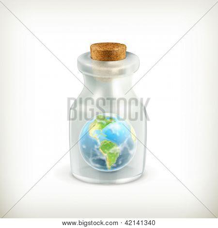 Earth in a bottle icon, bitmap copy