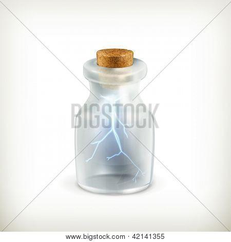 Lightning in a bottle icon, bitmap copy
