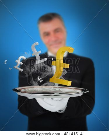 Waiter offering smoking pound symbols on blue background
