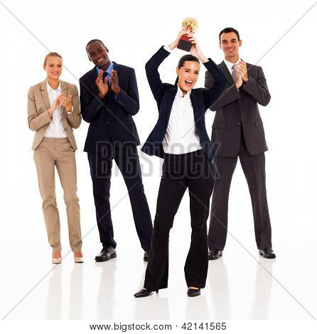 business team applauding when businesswoman winning a trophy