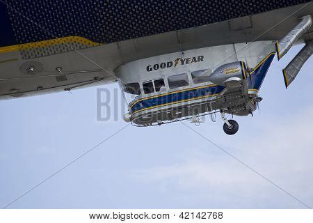 Spririt Of Goodyear Blimp Close Up Flying