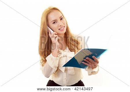 Business woman with a mobile phone