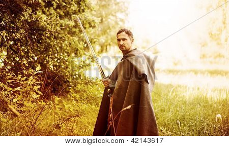 Dangerous Man With Medieval Sword