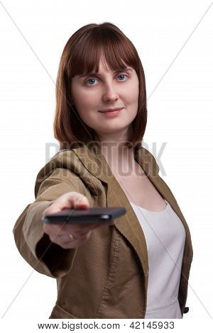 Portrait of attractive female lending hand