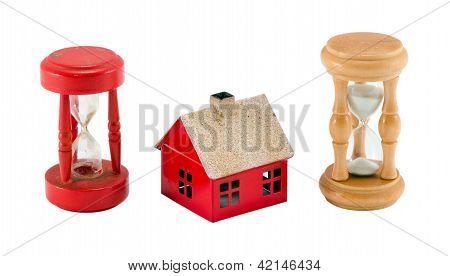 Roto el cristal arena Casa figura temporizador ejecución concepto