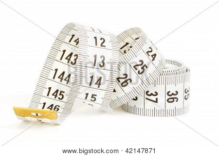 White Measuring Tape Isolated On White