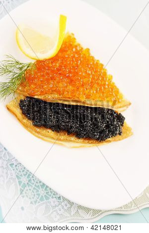 Flapjack With Caviar And Lemon