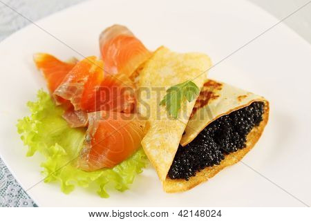 Flapjack With Caviar And Salmon