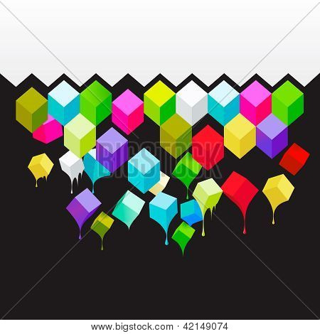Flying colored 3d cubes abstract background