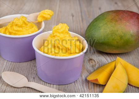 Frozen Creamy Ice Yoghurt  With Fresh Mango