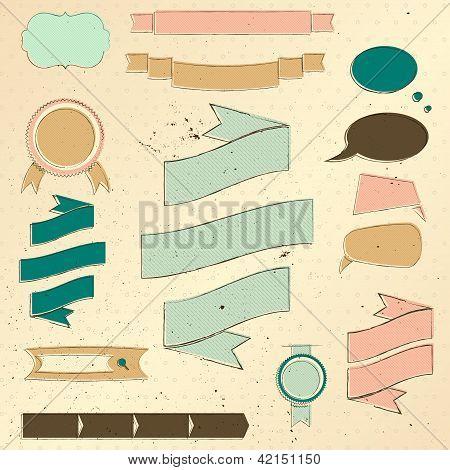 Conjunto de elementos de diseño de sitio web vintage.