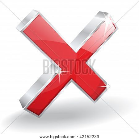 3d Glossy Cross Wrong BlockVector Icon