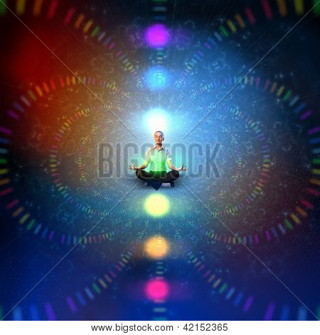 Businesswoman sitting in lotus flower position against zen background