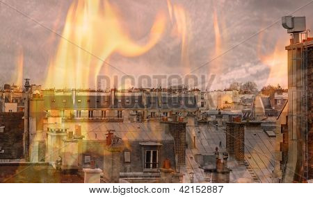flames on the city, the vision of end of the world
