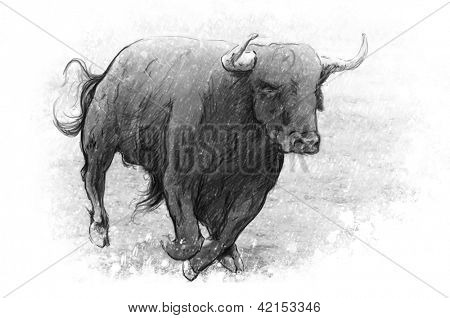 Tattoo art, dangerous bull with beaked horns