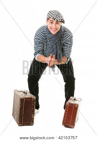 Happy Lucky Traveller With Vintage Suitcases