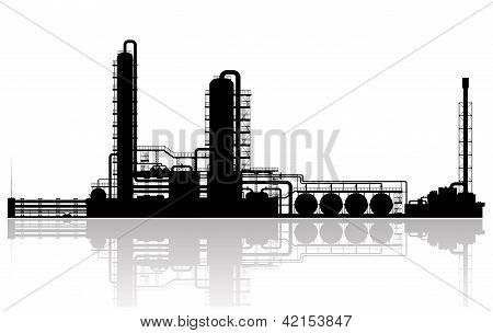 Oil Refinery Plant Silhouette
