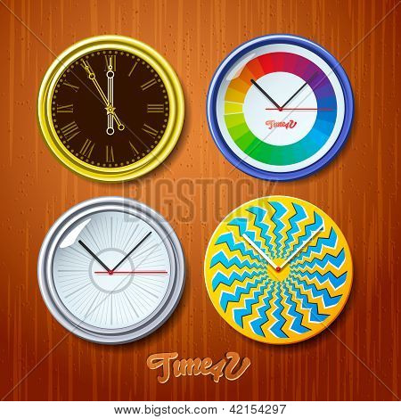 World time, watches on wooden wall